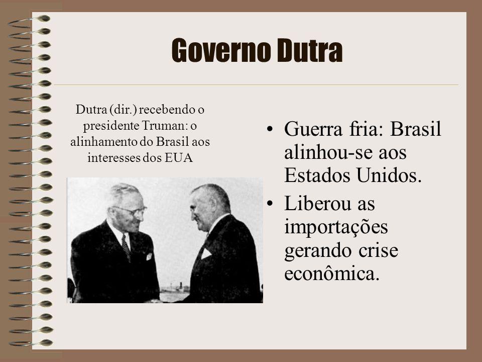 Governo Dutra Guerra fria: Brasil alinhou-se aos Estados Unidos. Liberou as importações gerando crise econômica. Dutra (dir.) recebendo o presidente T