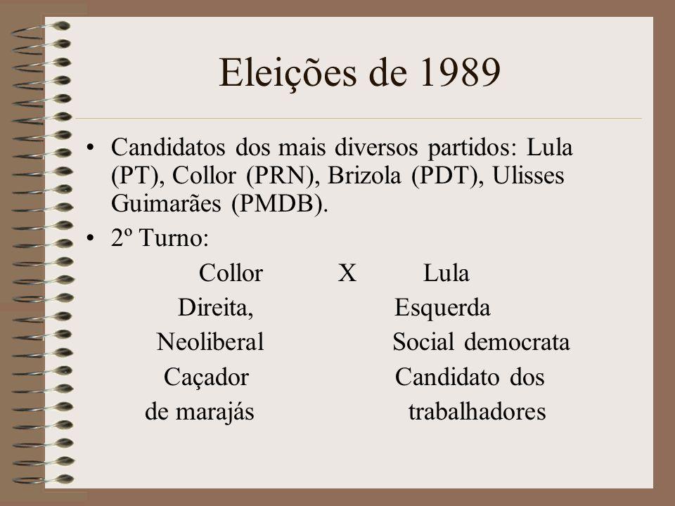 Eleições de 1989 Candidatos dos mais diversos partidos: Lula (PT), Collor (PRN), Brizola (PDT), Ulisses Guimarães (PMDB). 2º Turno: Collor X Lula Dire