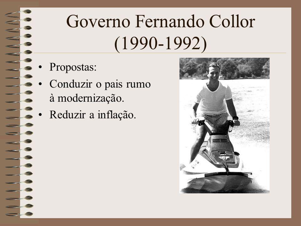 Governo Fernando Collor (1990-1992) Propostas: Conduzir o pais rumo à modernização. Reduzir a inflação.