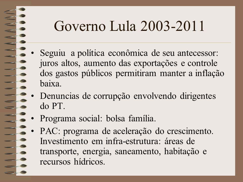 Governo Lula 2003-2011 Seguiu a política econômica de seu antecessor: juros altos, aumento das exportações e controle dos gastos públicos permitiram m