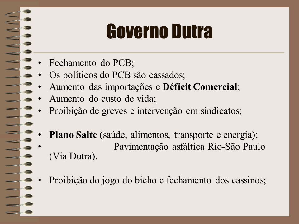 Governo Dutra Fechamento do PCB; Os políticos do PCB são cassados; Aumento das importações e Déficit Comercial; Aumento do custo de vida; Proibição de