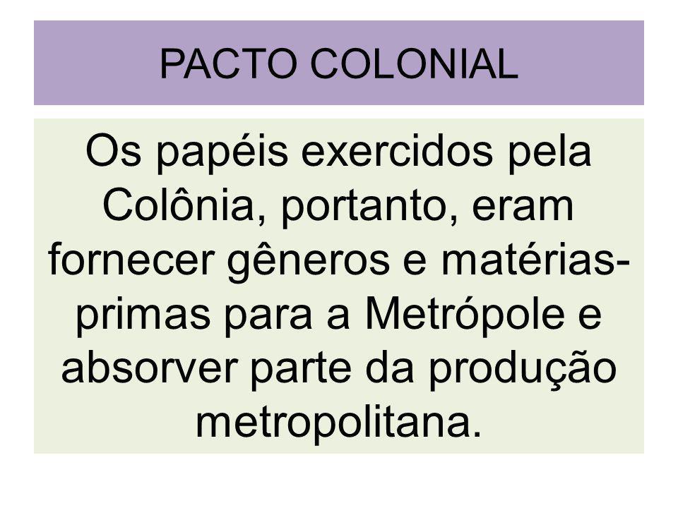 PACTO COLONIAL Os papéis exercidos pela Colônia, portanto, eram fornecer gêneros e matérias- primas para a Metrópole e absorver parte da produção metropolitana.