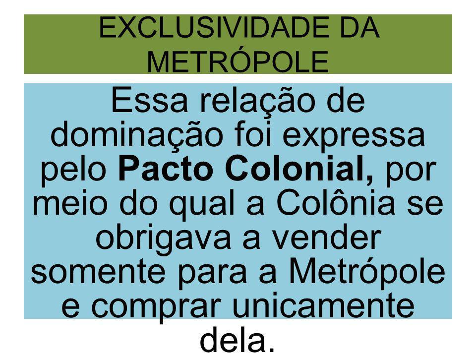 EXCLUSIVIDADE DA METRÓPOLE Essa relação de dominação foi expressa pelo Pacto Colonial, por meio do qual a Colônia se obrigava a vender somente para a Metrópole e comprar unicamente dela.