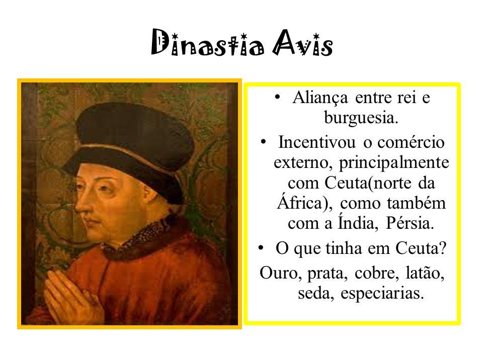 Dinastia Avis Aliança entre rei e burguesia. Incentivou o comércio externo, principalmente com Ceuta(norte da África), como também com a Índia, Pérsia