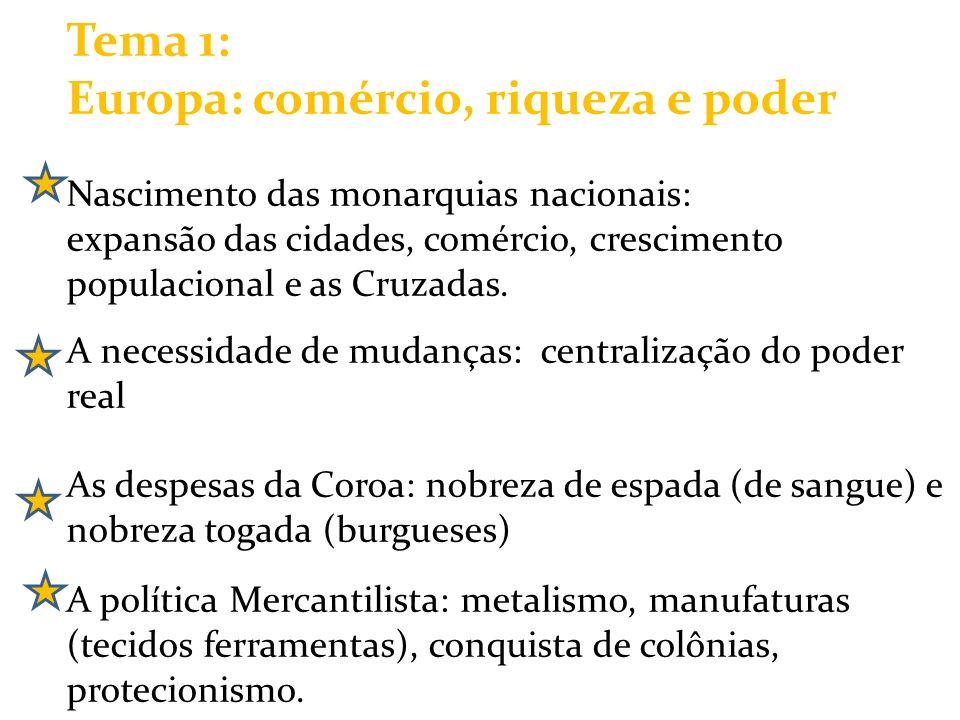 Tema 1: Europa: comércio, riqueza e poder Nascimento das monarquias nacionais: expansão das cidades, comércio, crescimento populacional e as Cruzadas.