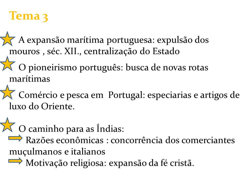 Tema 3 A expansão marítima portuguesa: expulsão dos mouros, séc. XII., centralização do Estado O pioneirismo português: busca de novas rotas marítimas