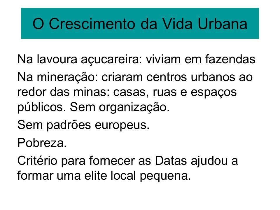 O Crescimento da Vida Urbana Na lavoura açucareira: viviam em fazendas Na mineração: criaram centros urbanos ao redor das minas: casas, ruas e espaços