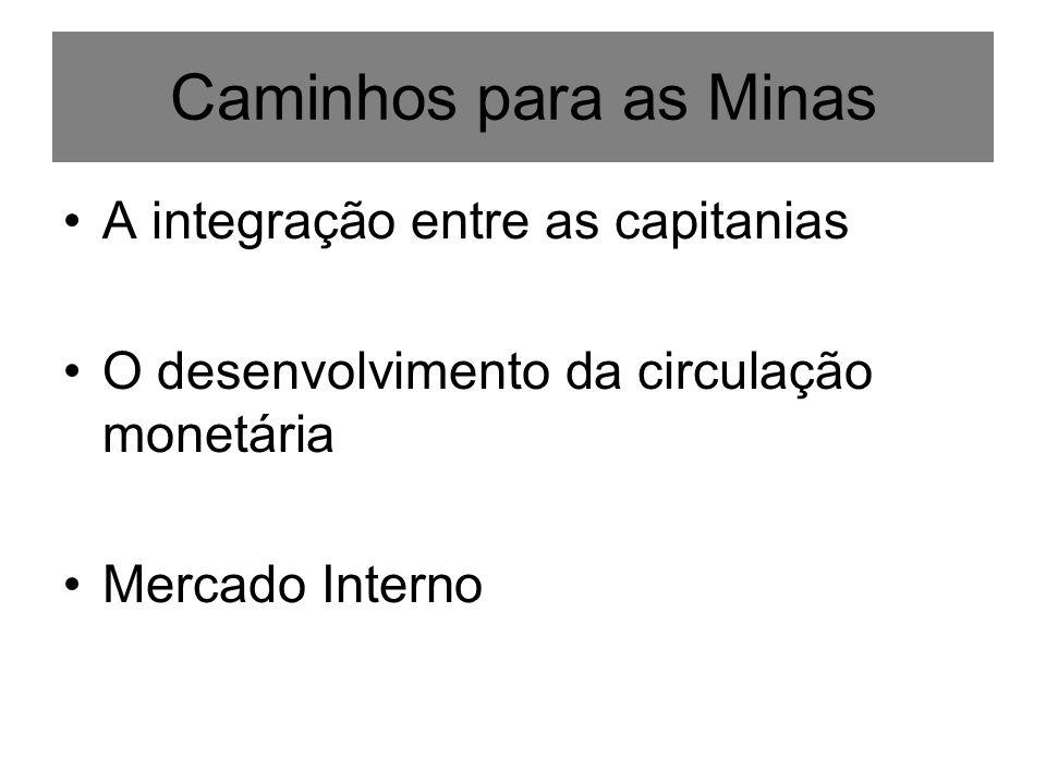 Caminhos para as Minas A integração entre as capitanias O desenvolvimento da circulação monetária Mercado Interno