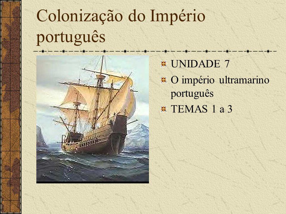 Colonização do Império português UNIDADE 7 O império ultramarino português TEMAS 1 a 3