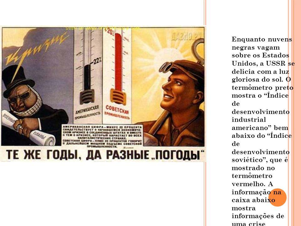 Enquanto nuvens negras vagam sobre os Estados Unidos, a USSR se delicia com a luz gloriosa do sol. O termômetro preto mostra o Índice de desenvolvimen
