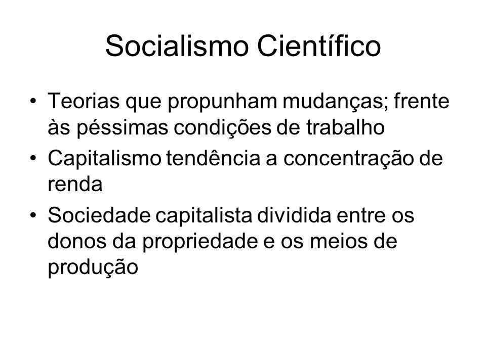 Teorias que propunham mudanças; frente às péssimas condições de trabalho Capitalismo tendência a concentração de renda Sociedade capitalista dividida