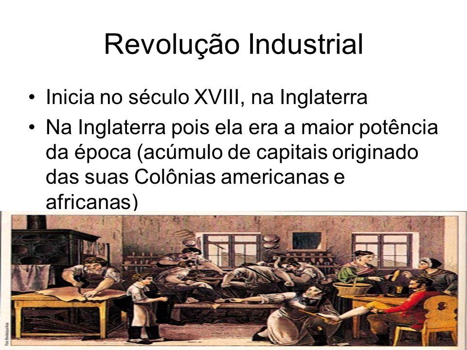 Conseqüências da Revolução Industrial Surgimento de uma nova classe social: proletariado (massa de trabalhadores) Produção industrial aumentava Urbanização Êxodo rural