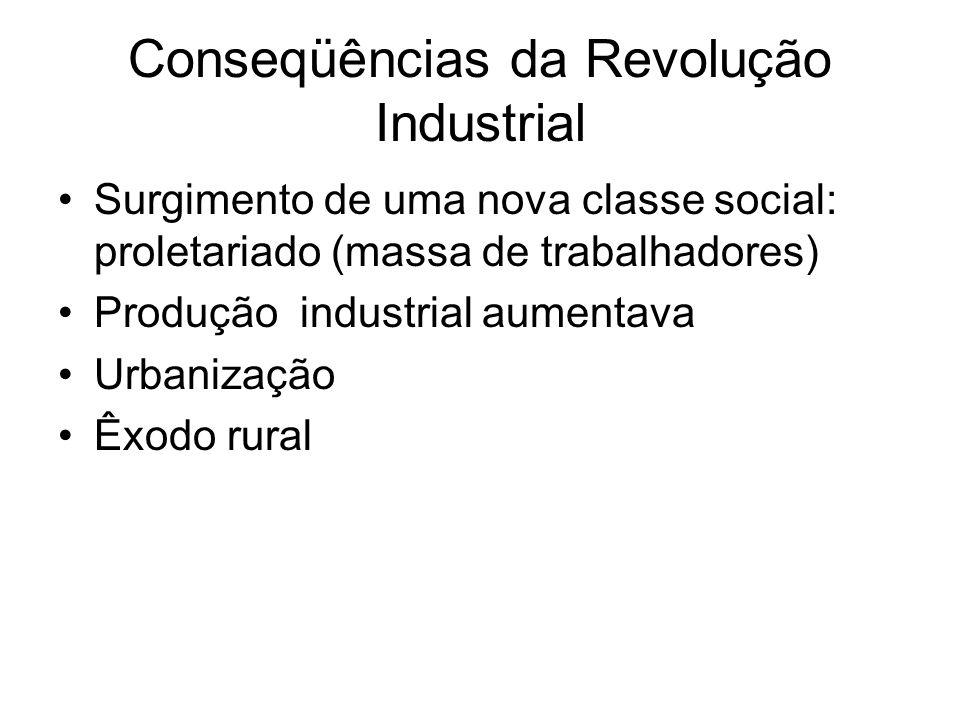Conseqüências da Revolução Industrial Surgimento de uma nova classe social: proletariado (massa de trabalhadores) Produção industrial aumentava Urbani