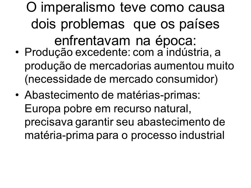 O imperalismo teve como causa dois problemas que os países enfrentavam na época: Produção excedente: com a indústria, a produção de mercadorias aument