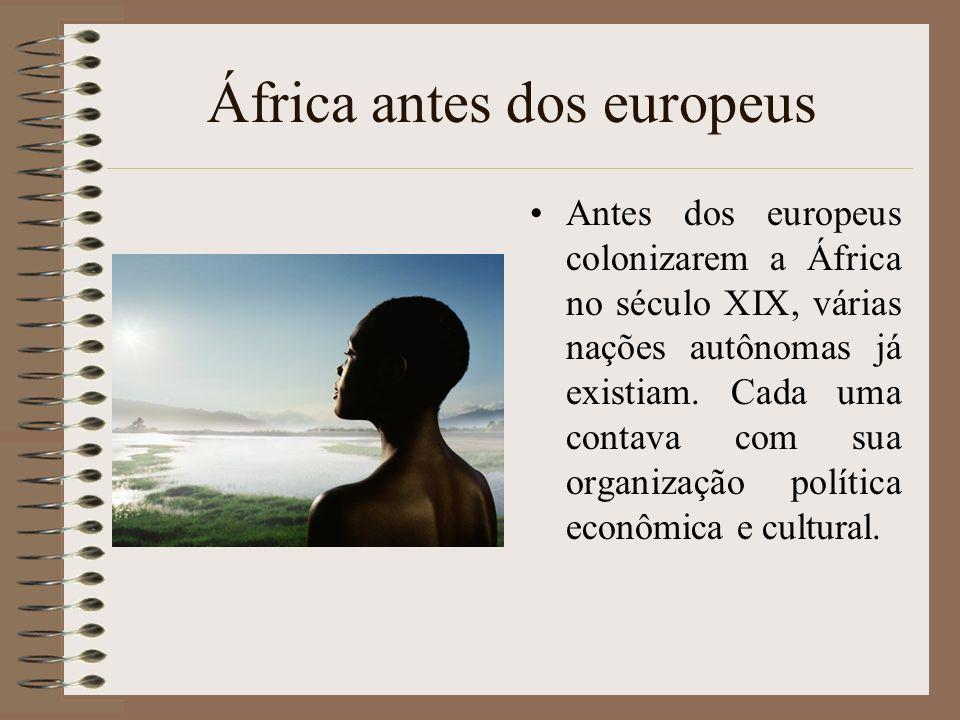 Antes dos europeus colonizarem a África no século XIX, várias nações autônomas já existiam. Cada uma contava com sua organização política econômica e