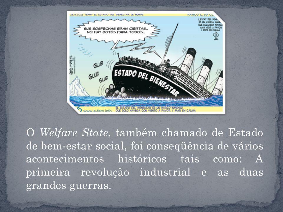 O Welfare State, também chamado de Estado de bem-estar social, foi conseqüência de vários acontecimentos históricos tais como: A primeira revolução in
