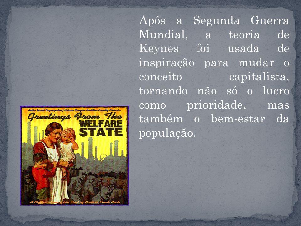 Após a Segunda Guerra Mundial, a teoria de Keynes foi usada de inspiração para mudar o conceito capitalista, tornando não só o lucro como prioridade,