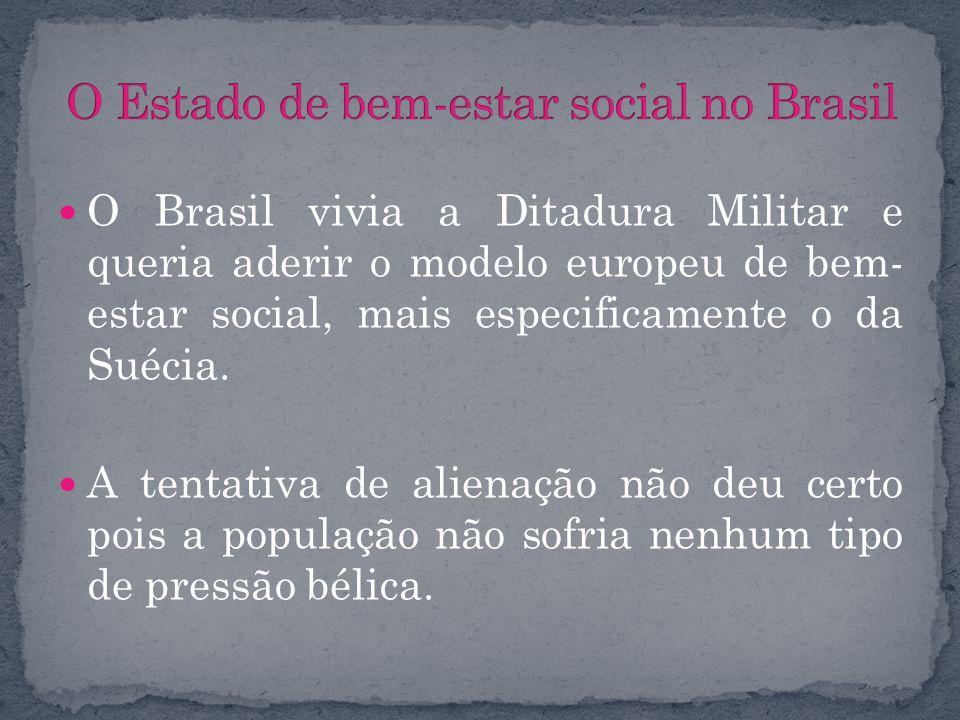 O Brasil vivia a Ditadura Militar e queria aderir o modelo europeu de bem- estar social, mais especificamente o da Suécia. A tentativa de alienação nã