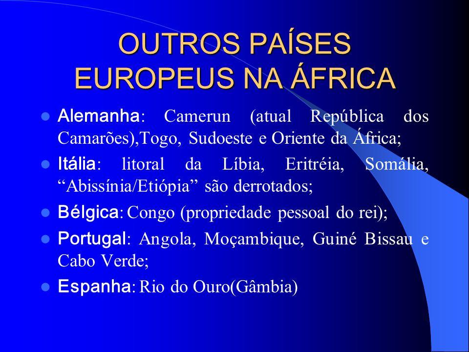 IMPERIALISMO FRANCÊS NA ÁFRICA Presente na África desde 1830, a França dominava as seguintes regiões do continente: – Argélia; – Tunísia; – Marrocos;