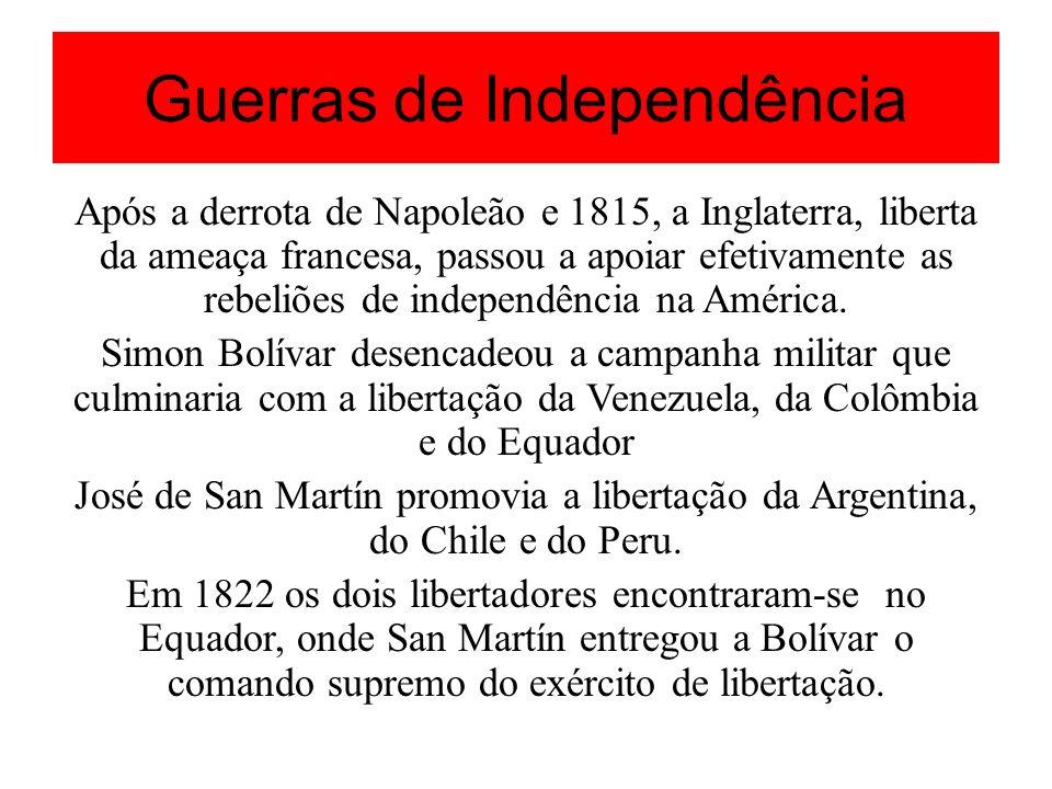 Guerras de Independência Após a derrota de Napoleão e 1815, a Inglaterra, liberta da ameaça francesa, passou a apoiar efetivamente as rebeliões de ind