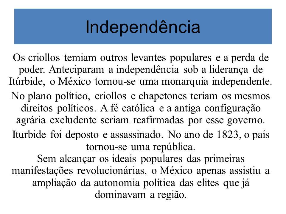 Independência Os criollos temiam outros levantes populares e a perda de poder. Anteciparam a independência sob a liderança de Itúrbide, o México torno