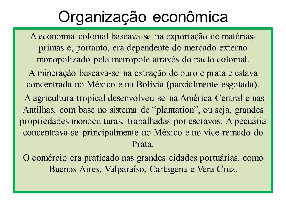 Organização econômica A economia colonial baseava-se na exportação de matérias- primas e, portanto, era dependente do mercado externo monopolizado pel