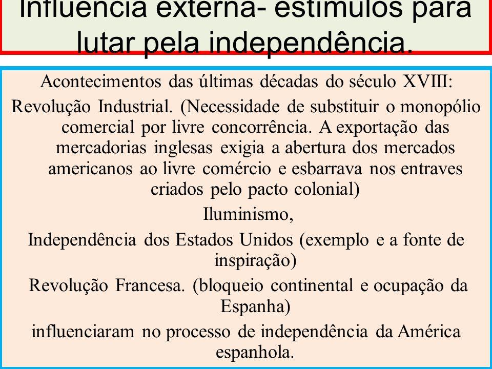 Influência externa- estímulos para lutar pela independência. Acontecimentos das últimas décadas do século XVIII: Revolução Industrial. (Necessidade de