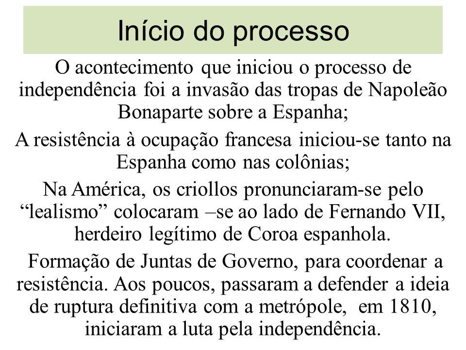 Início do processo O acontecimento que iniciou o processo de independência foi a invasão das tropas de Napoleão Bonaparte sobre a Espanha; A resistênc