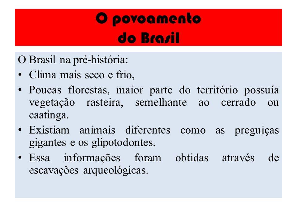 O povoamento do Brasil O Brasil na pré-história: Clima mais seco e frio, Poucas florestas, maior parte do território possuía vegetação rasteira, semel