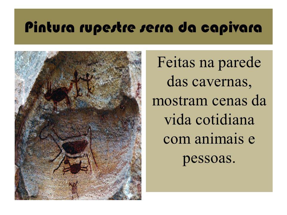 Pintura rupestre serra da capivara Feitas na parede das cavernas, mostram cenas da vida cotidiana com animais e pessoas.