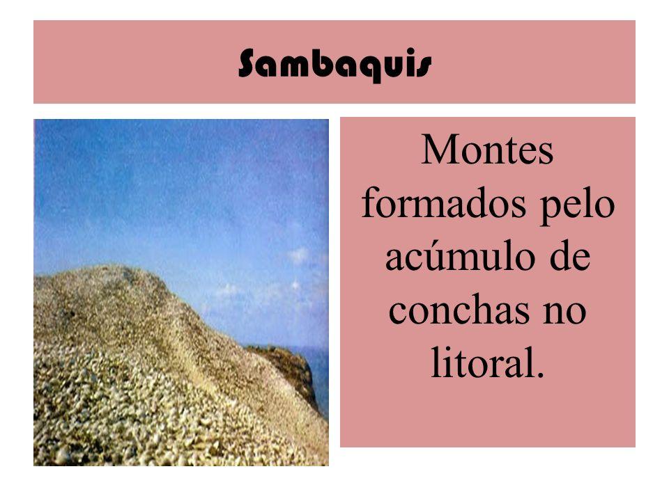 Sambaquis Montes formados pelo acúmulo de conchas no litoral.