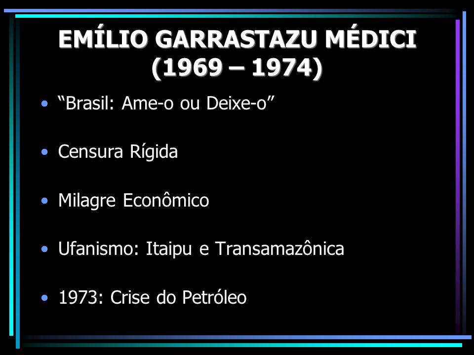 Brasil: Ame-o ou Deixe-o Censura Rígida Milagre Econômico Ufanismo: Itaipu e Transamazônica 1973: Crise do Petróleo