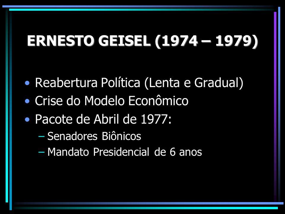 Reabertura Política (Lenta e Gradual) Crise do Modelo Econômico Pacote de Abril de 1977: –Senadores Biônicos –Mandato Presidencial de 6 anos