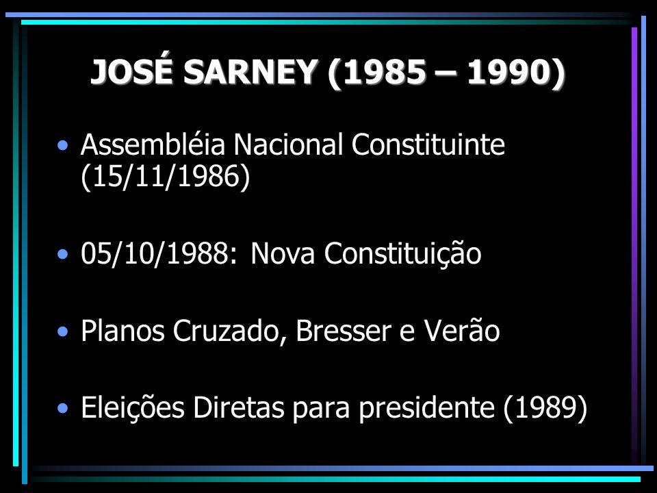 Assembléia Nacional Constituinte (15/11/1986) 05/10/1988: Nova Constituição Planos Cruzado, Bresser e Verão Eleições Diretas para presidente (1989)