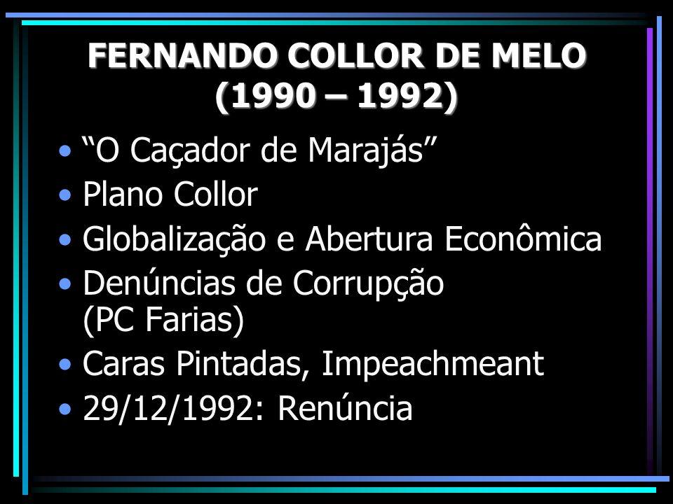 O Caçador de Marajás Plano Collor Globalização e Abertura Econômica Denúncias de Corrupção (PC Farias) Caras Pintadas, Impeachmeant 29/12/1992: Renúncia