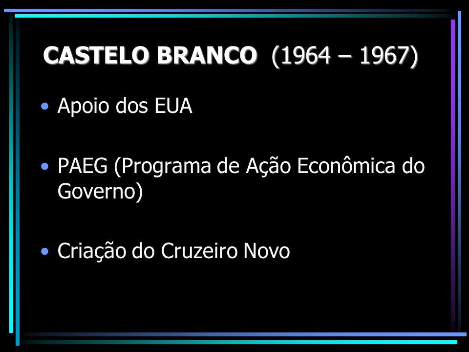 Apoio dos EUA PAEG (Programa de Ação Econômica do Governo) Criação do Cruzeiro Novo