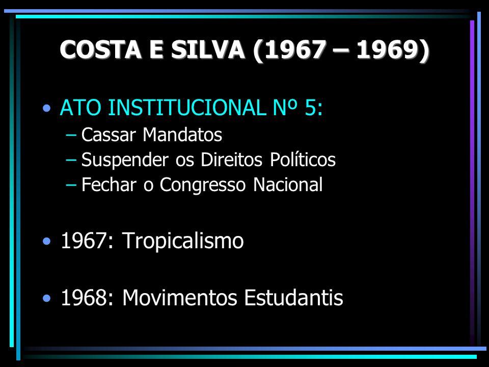 ATO INSTITUCIONAL Nº 5: –Cassar Mandatos –Suspender os Direitos Políticos –Fechar o Congresso Nacional 1967: Tropicalismo 1968: Movimentos Estudantis