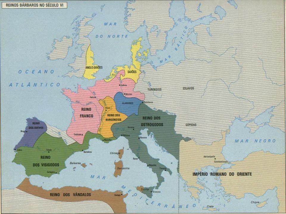 OS REINOS ROMANO- GERMÂNICOS: - Frágeis e efêmeros. Reino dos Suevos. Reino dos Visigodos. Reino dos Borgúndios. Reino dos Ostrogodos. Reino dos Vânda