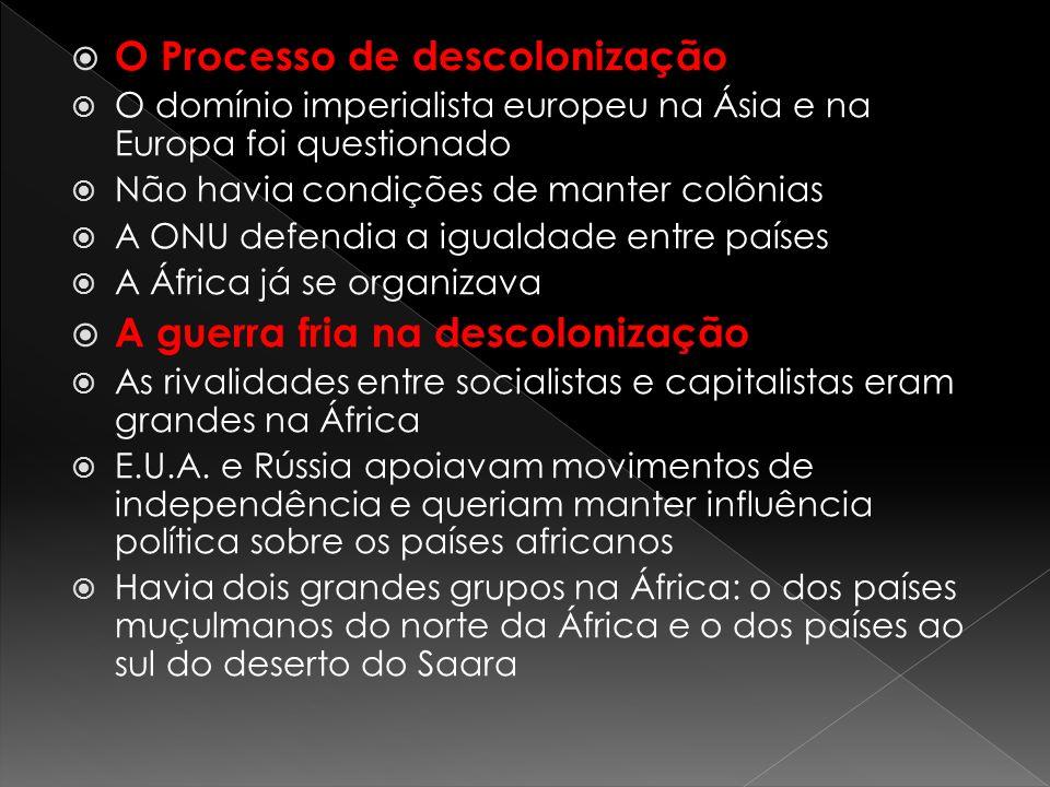 O Processo de descolonização O domínio imperialista europeu na Ásia e na Europa foi questionado Não havia condições de manter colônias A ONU defendia