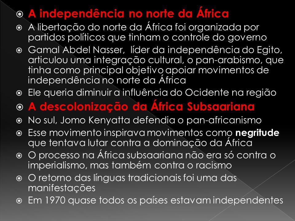A independência no norte da África A libertação do norte da África foi organizada por partidos políticos que tinham o controle do governo Gamal Abdel