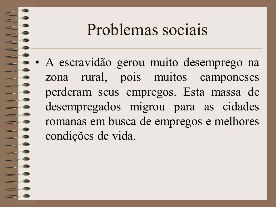 Problemas sociais A escravidão gerou muito desemprego na zona rural, pois muitos camponeses perderam seus empregos. Esta massa de desempregados migrou
