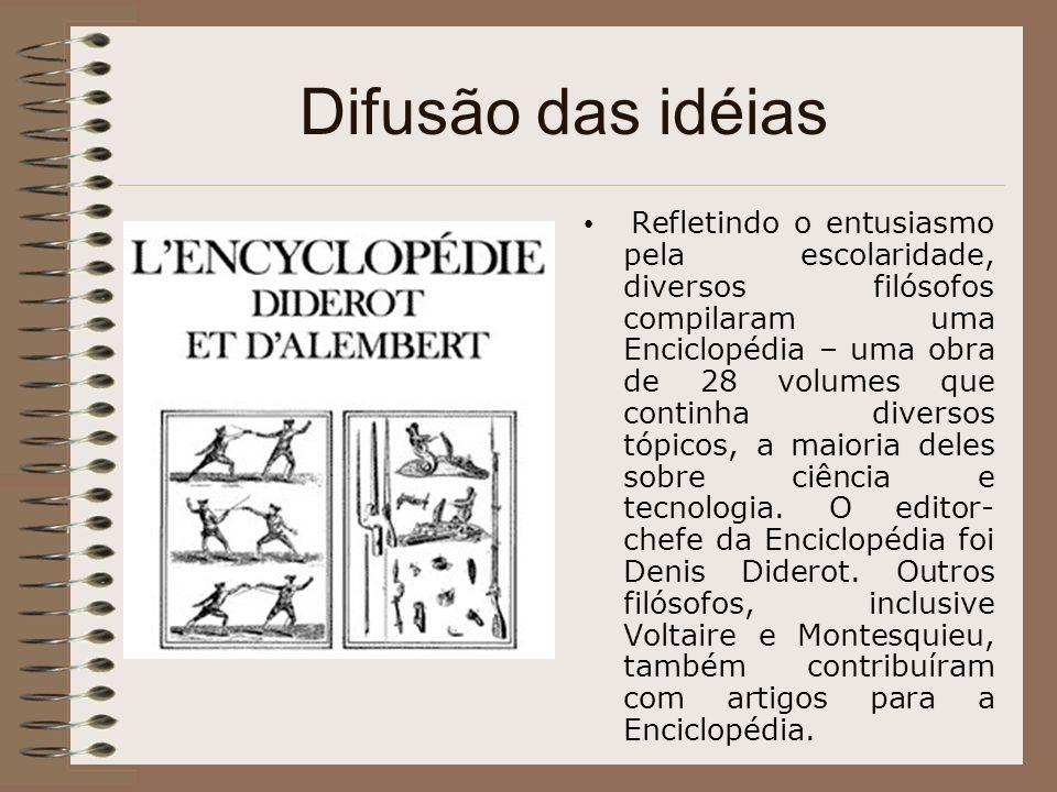 Difusão das idéias Refletindo o entusiasmo pela escolaridade, diversos filósofos compilaram uma Enciclopédia – uma obra de 28 volumes que continha div