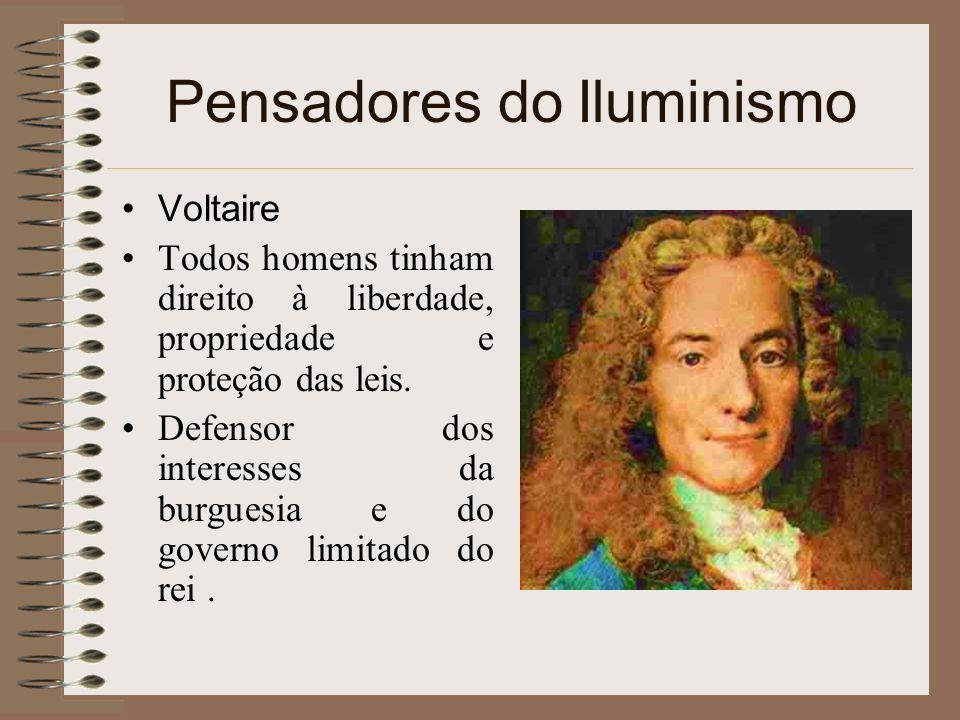 Pensadores do Iluminismo Voltaire Todos homens tinham direito à liberdade, propriedade e proteção das leis. Defensor dos interesses da burguesia e do