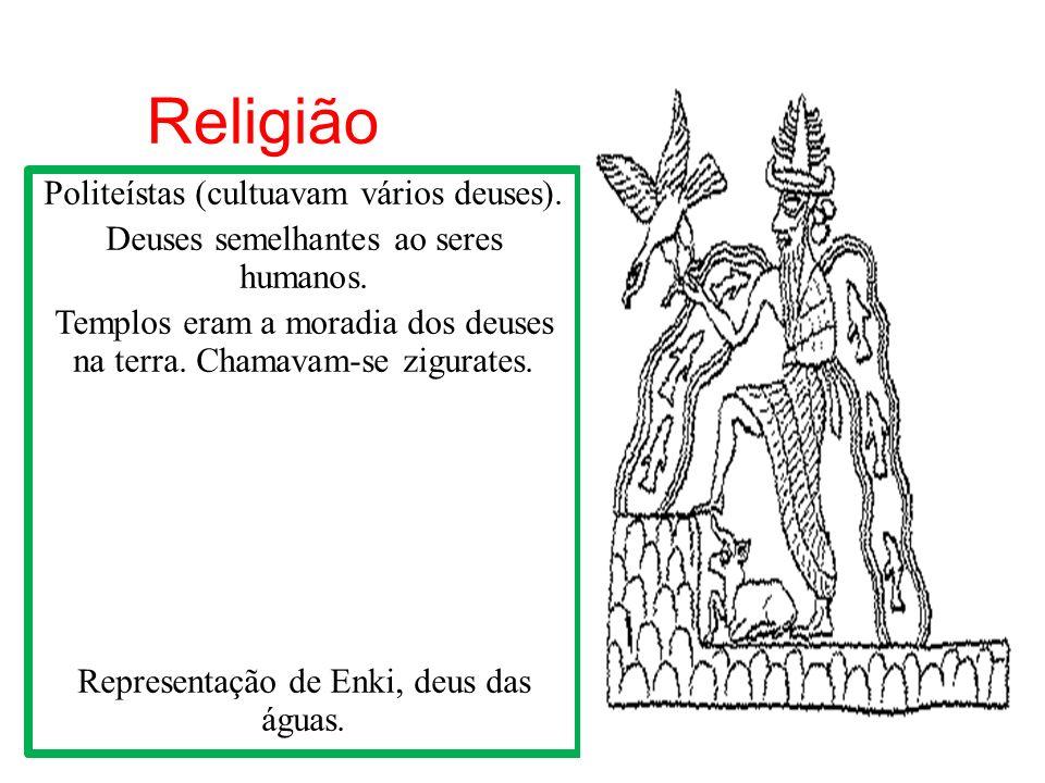 Religião Politeístas (cultuavam vários deuses). Deuses semelhantes ao seres humanos. Templos eram a moradia dos deuses na terra. Chamavam-se zigurates