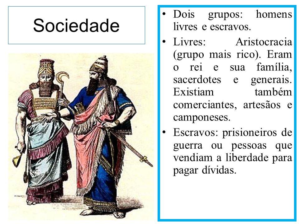 Sociedade Dois grupos: homens livres e escravos. Livres: Aristocracia (grupo mais rico). Eram o rei e sua família, sacerdotes e generais. Existiam tam