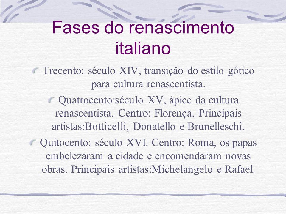 Fases do renascimento italiano Trecento: século XIV, transição do estilo gótico para cultura renascentista. Quatrocento:século XV, ápice da cultura re