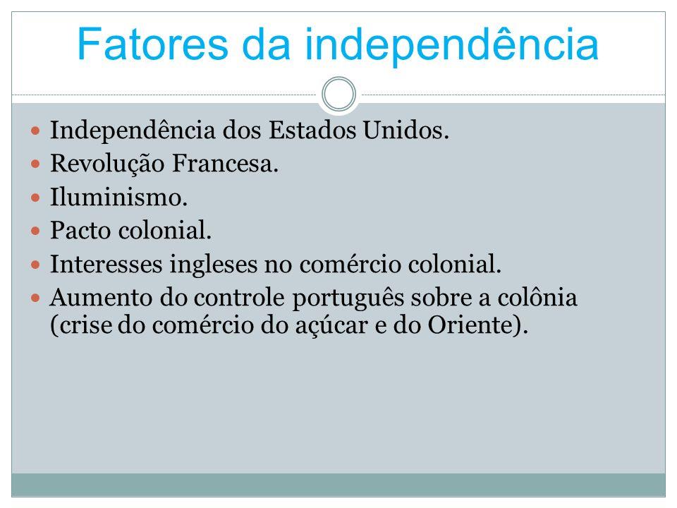 Fatores da independência Independência dos Estados Unidos. Revolução Francesa. Iluminismo. Pacto colonial. Interesses ingleses no comércio colonial. A