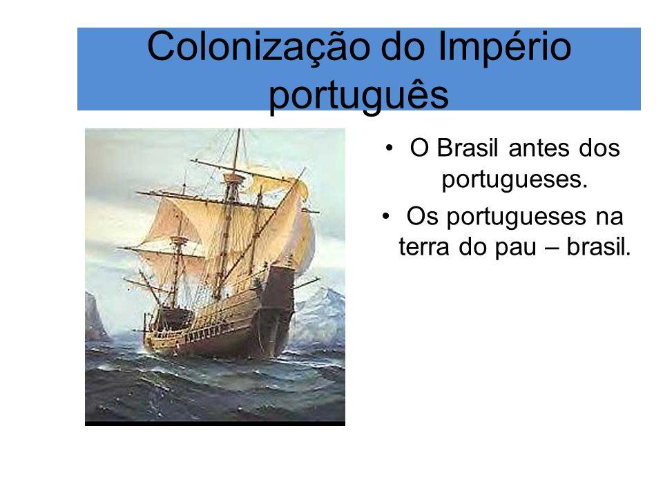 Colonização do Império português O Brasil antes dos portugueses. Os portugueses na terra do pau – brasil.