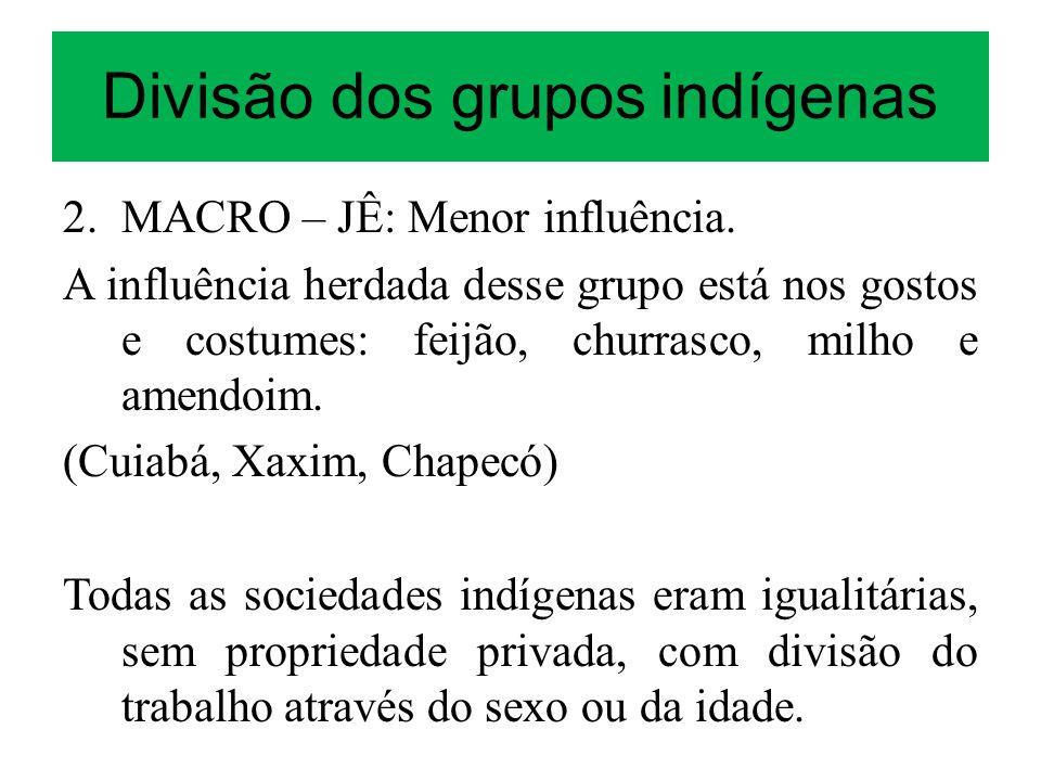Divisão dos grupos indígenas 2. MACRO – JÊ: Menor influência. A influência herdada desse grupo está nos gostos e costumes: feijão, churrasco, milho e