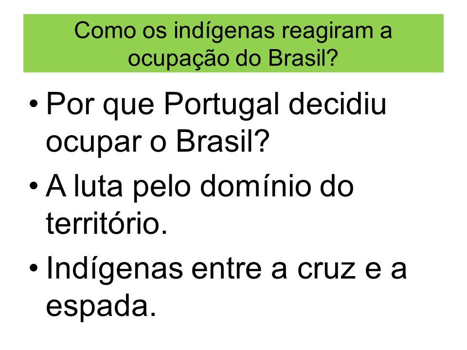 Como os indígenas reagiram a ocupação do Brasil? Por que Portugal decidiu ocupar o Brasil? A luta pelo domínio do território. Indígenas entre a cruz e
